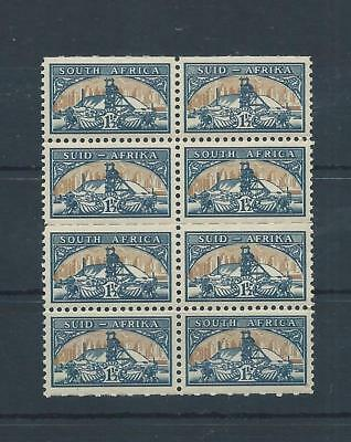 South Africa stamps. 1948 Gold Mine MNH block of 8 (2 sets) Folded (C937)