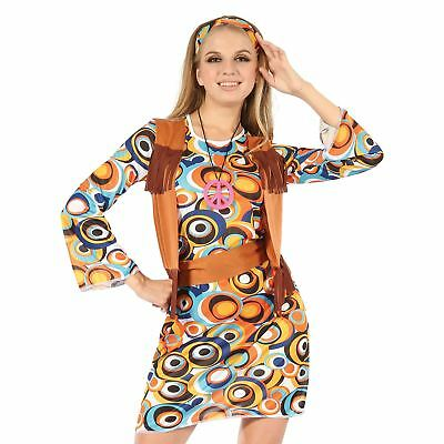 Adult Ladies 60s 70s MOD Hippy Hippie Groovy Fancy Dress Retro Costume Outfit