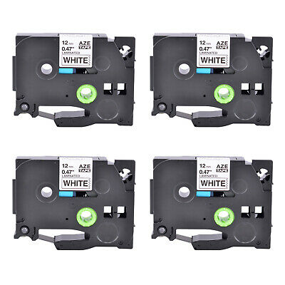 4PK TZ231 Black on White Label Tape Laminated for Brother P-Touch PT-H110 1/2""