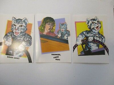 """SNL """"TOONCES THE CAT"""" Vintage 90's Set of 3 NEW Greeting Cards - MINT Condition"""