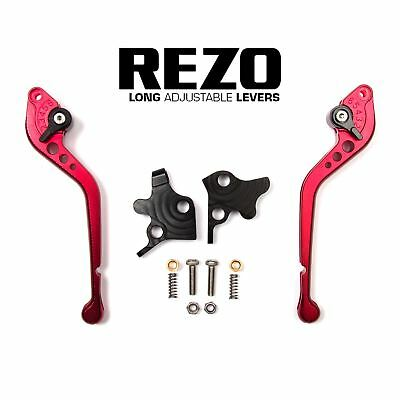 REZO Red Adjustable Long Brake and Clutch Lever Set for Kawasaki GPZ 500 S 90-09
