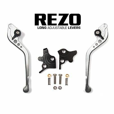 REZO Silver Adjustable Long Brake and Clutch Lever Set for Ducati 998 R 02-03
