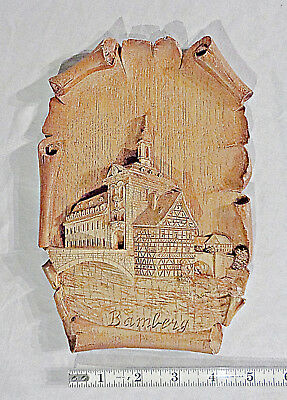 BAMBERG faux wood WALL PLAQUE Upper Franconia, Germany, on the river Regnitz