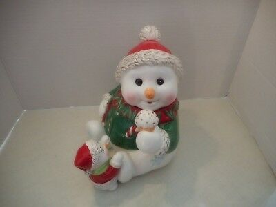 Adorable Waterford Holiday Heirlooms Snowman Ceramic Cookie Jar