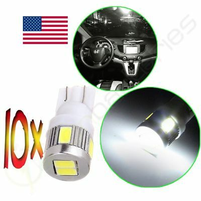 10Pcs High Power White 5730 SMD LED Car License Plate Light Bulb T10 194 168 158