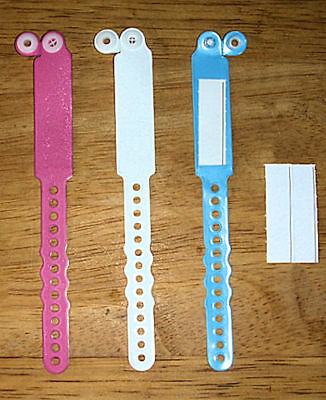 3 Hospital Baby Id Bracelet Band For Newborn / Reborn In 3 Colors