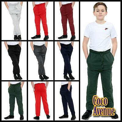 New Boys Kids Jogging Stretchy Skinny Bottoms Casual Sports Trousers Sweat Pants