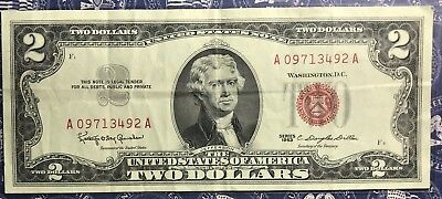 1963 $2 Dollar Bill Old Us Paper Money Currency Red Seal Collector Note. 3492A