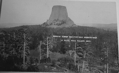 Devils Tower 600 feet High Granite Rock 10 miles from Hulett, Wyoming real photo