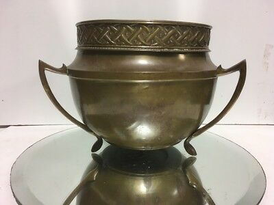 VTG. Brass Bronze Art Nouveau Arts & Crafts Brass Jardiniere Pot Planter Bowl