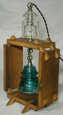 Oak Table Lamp Telegraph Insulators primitive hand made accent light night light