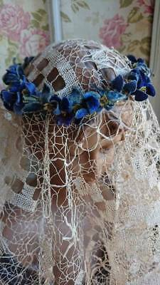 DIVINE ANTIQUE FRENCH VELVET FLOWER POSY CROWN COURONNE c1900