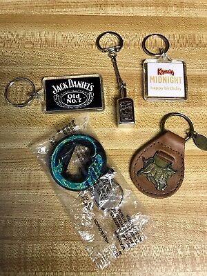 Lot Of 5 Alcohol And Tobacco Collectable Keychains. Jack Daniels Marlboro Nice