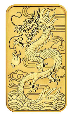 2018 $100 1oz Gold Australian Bullion Dragon Rectangular Coin (Bar) .9999