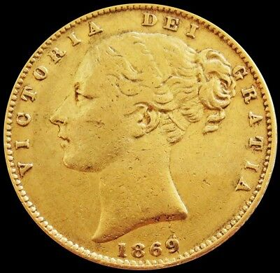 1869 Gold Great Britain 7.981 Grams Sovereign Shield Reverse Young Head Die # 46