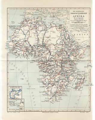 1900s AFRICA MADAGASCAR SCIENTIFIC RESEARCH EXPEDITIONS Antique Map
