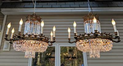 A Pair of Antique Vintage Basket Style Bronze & Crystal prism LARGE Chandeliers