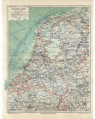 1906 NETHERLANDS HOLLAND BELGIUM GERMANY Antique Map dated