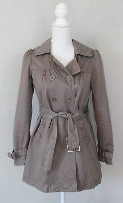 Anthropologie IDRA Taupe Belted Trench Coat Jacket, Size 2 XS