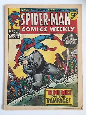 Rare Vintage Collectible Marvel 1973 Spiderman Weekly UK Comics #37 With Thor
