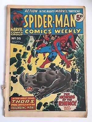 Rare Vintage Collectible Marvel 1973 Spiderman Weekly UK Comics #35 With Thor