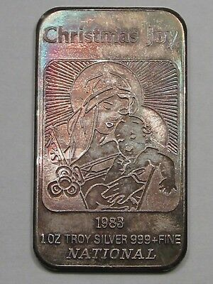 "ART BAR: 1983 ""Christmas Joy"", Mary & Baby Jesus. 1 Troy oz .999 Fine Silver. #9"