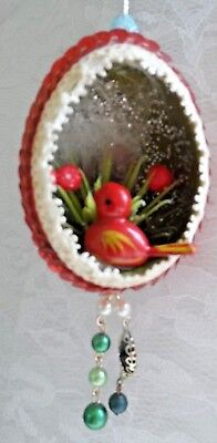 Vintage Handmade Christmas Ornament - REAL EGG DIORAMA RED BIRD