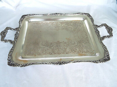 Fabulous Large Silver Plate Scroll Design Serving Tray