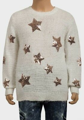 Ex George Girls Fluffy Eyelash Cream Jumper Top With Gold Sequin Stars Age  6-12