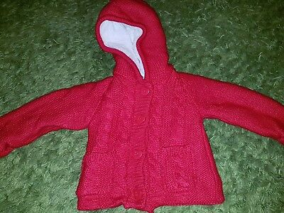 Girl's red knitted hooded jacket fleece &  fur lined aged 6 to 9 months