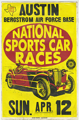 1950's MG TC Austin Texas Vintage Race Poster 11 x 17  Bergstrom Air Force Base