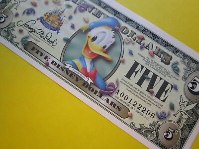 ZIPPY'S MINT Disney Dollars 2005 ** RARE ** A00122296 * DONALD DUCK $5 bar code