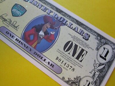 ZIPPY'S MINT Disney Dollars 2013 *** D014378 ** CAPTAIN HOOK $1 ** low 5 digit #