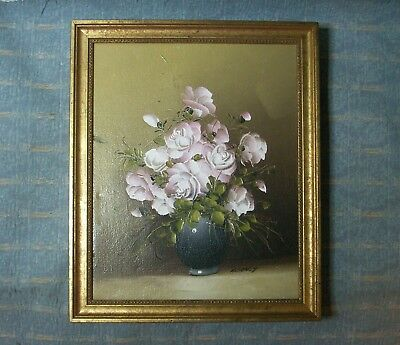 Old Vintage Oil Painting on Canvas Still Life Roses signed Alan T in Gold Frame