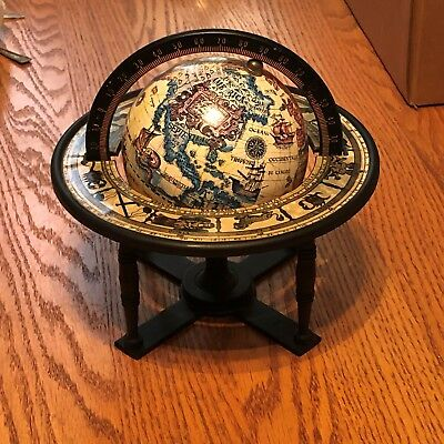 Vintage Old World Style Table Top Globe With Zodiac !