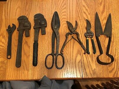 Vtg. Assortment of hand tools: 1 adjustable wrench, 2 monkey wrenchs, 4 shears !