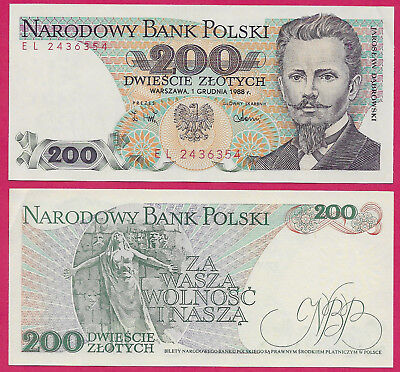 Poland Peoples Rep 200 Zlotych 1988 Unc (El)Jarolaw Dabrowski At Right,eagle Arm