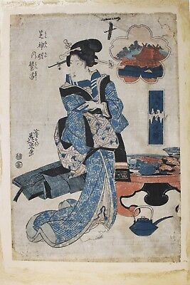 Fine 18Th To 19Th C. Japanese Ukiyoe Woodblock Print Of A Geisha Kunisada? As Is