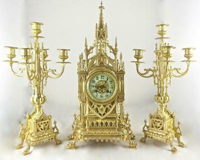 Spectacular Antique French Mougin 19th c Gilt Bronze Cathedral Mantle Clock Set