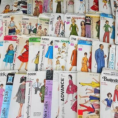 Lot of 40 Vintage 50's 60's 70's Sewing Patterns Ladies Men's Girls Simplicity