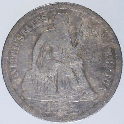 1875 CC Seated Liberty Dime VG Above Bow, scratches, porosity