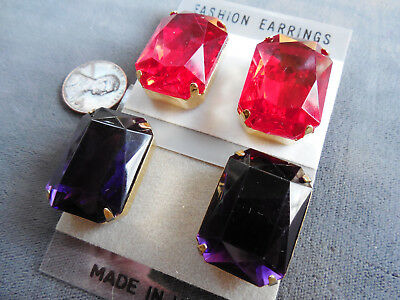 Vintage NOS lot 2 prs big chunky red purple faceted glass rect pcd earrings D24