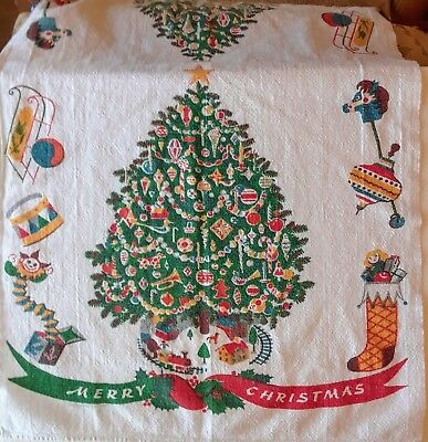 Vintage MCM Christmas Cotton/Linen Kitchen Tea Towel Tree Toys Printed by Hand