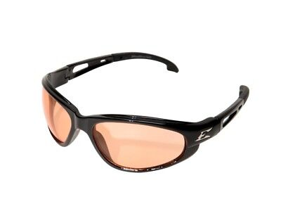 Edge Eyewear SW114 Dakura Wrap Around Safety Glasses, Black/Amber Lens