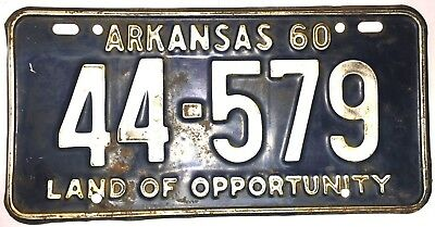 1960 Arkansas Vintage, Automobile License Plate!  Low Number!  Used Condition