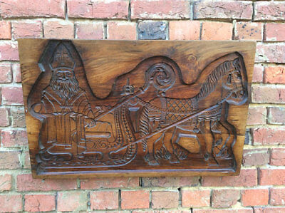 Antique C.1900 carved Elm Russian orthodox priest on a Troika icon plaque