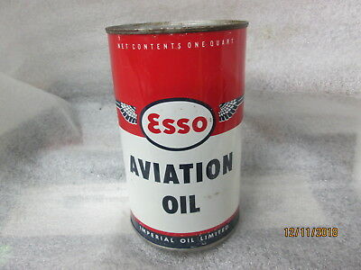 Early Original Esso Aviation Oil Imperial Quart Metal Can
