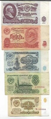 Rare Old CCCP Cold War Soviet Russia Rubles Dollar LENIN 5 Note Collection Set