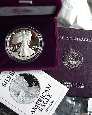 1992 AMERICAN SILVER EAGLE PROOF DOLLAR US Mint ASE Coin with Box and COA