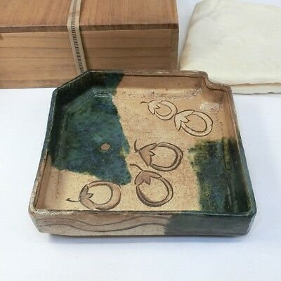 A468: Popular Japanese old ORIBE pottery ware tea thing plate w/great atmosphere